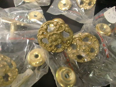 10 Cast  Brass Knobs Drawer Pulls Restoration New Old Stock Hardware