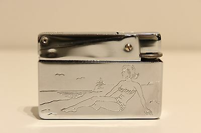 Vintage Rare Chromed Metal Cigar Gas Lighter With Woman On The Beach