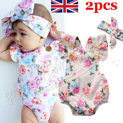 2pcs Baby Girls Floral Bodysuit Romper Summer Headband Sunsuit Outfit Set 0-24M