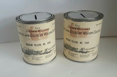 2 Rare Vintage Sherwin Williams Express & Delivery Wagon Colors Paint Can Banks