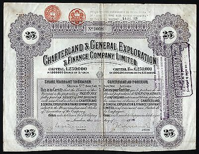 1909 South Africa: Charterland & General Exploration & Finance Company - coupons