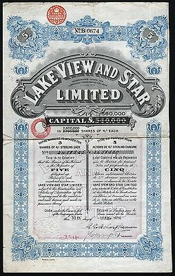 1934 Western Australia: Lake View and Star Limited - 5 Shares, with coupons