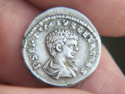 Roman Emperor Geta Silver Denarius Dated AD 209-212, In VF Condition.