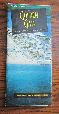 1956 Golden Gate Hotel travel brochure Miami Beach Florida with actual bill