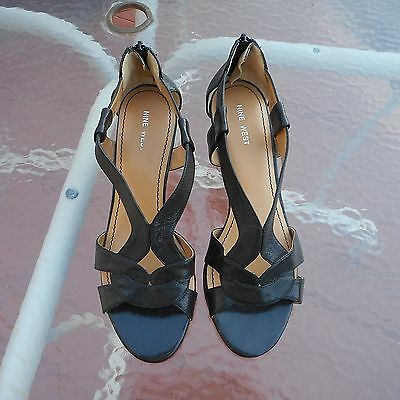 Womens Nine West Black Leather Strappy Wedge Sandals Shoes Heels - 9 M