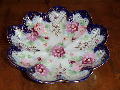 """10"""" Centerpiece Bowl Hand Painted Porcelain Dish Unmarked ybe"""