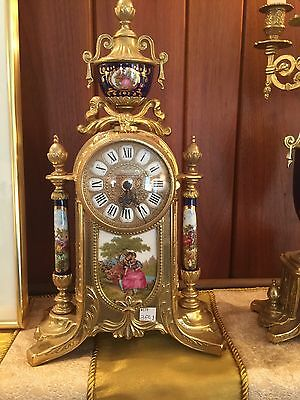 Converted Imperial Clock With A Pair Of Candelabra .Brass