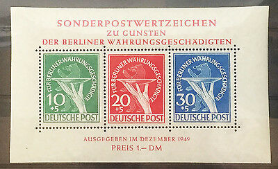 Germany Berlin 1949 Currency Victims Souvenir Sheet Of 3 - Mint Nh Vf