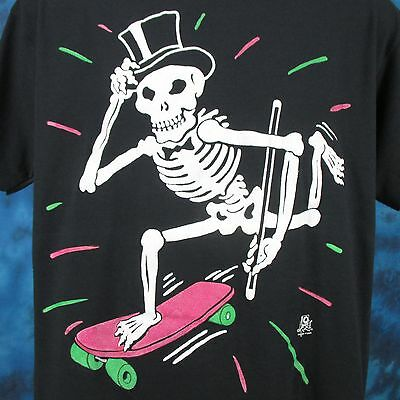 vintage 80s SKATE TUXEDO SKELETON CARTOON T-Shirt LARGE board skull punk thin