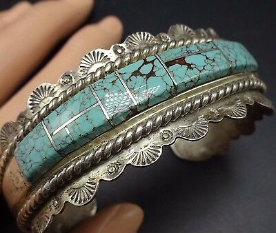 Vintage NAVAJO Hand Stamped Sterling Silver & TURQUOISE Inlay Cuff BRACELET