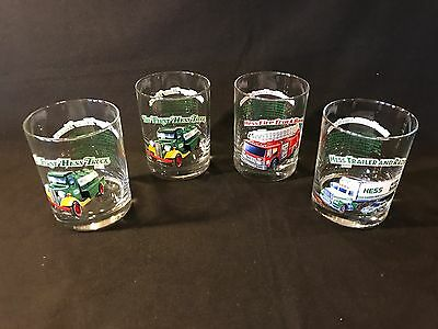 Hess 1996 Toy Truck Series Gas Station Drinking Glasses ~ FOUR of them in EUC