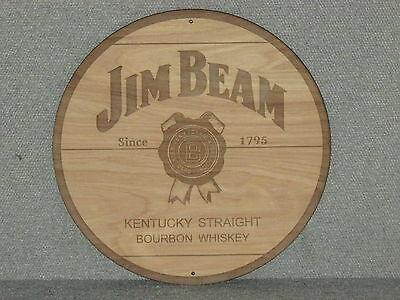 "Jim Beam Kentucky Bourbon Whiskey 12"" Round Wood Sign Barrel Top style"