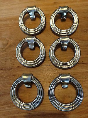 Set of 6 silver metal art deco style vintage drawer cabinet ring pulls