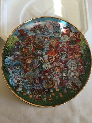 """Franklin Mint Fine Porcelain """"Easter Purrade""""  Collectible Plate"""