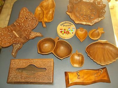Lot Of Woodencandy Bowls,book Stand Kleenex Box,monkey Pod Wood India Hand Made