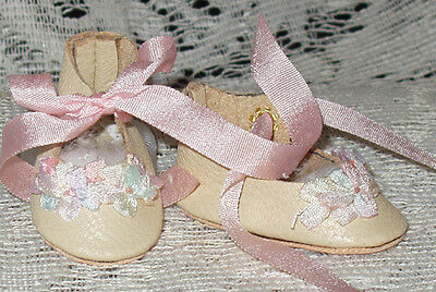 For Bleuette~Handmade Leather Doll Shoes ~FANCY German Style~ECRU w / pink