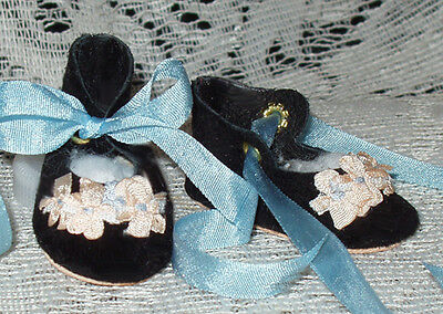 For Bleuette~Handmade Leather Doll Shoes ~FANCY German Style~Black Suede  w/Blue