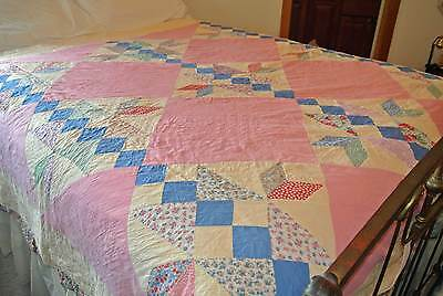 """Vintage 1930s Patchwork on point quilt 76x80"""""""