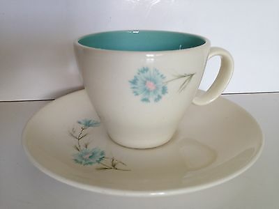 """Vintage Taylor, Smith, & Taylor """"Boutonniere"""" Teacup and Saucer Turquoise White"""