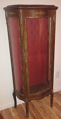 Louis XV Style Curio Cabinet French Vitrine Serpentine Metal Filigree Decoration
