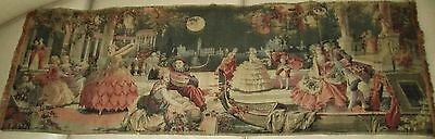 Antique BELGIAN Tapestry VENICE AT NIGHT Beautiful Detail Colorful