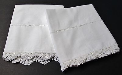 Pair Antique Pillow Cases Ornate Hand Crocheted Shell Stitch Trim Hemstitched