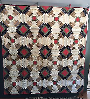 """Antique C1880 Log Cabin Windmill Blades Quilt 80""""x 80"""" Graphic Pattern + Colors"""