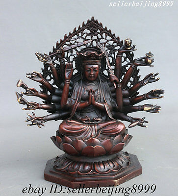 Tibet Pure Bronze Temple 18 Arms Avalokitesvara Kwan-Yin Mother Buddha Statue