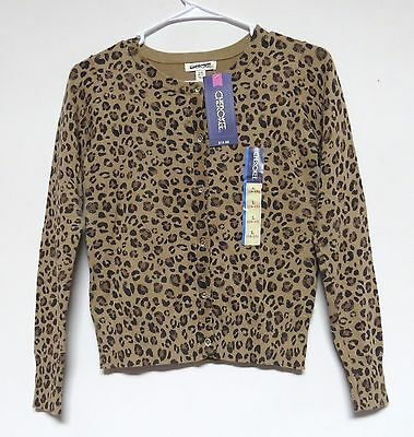 Girls CHEROKEE Leopard Cheetah Print Cardigan Sweater SIZE XS, S, L, XL NWT