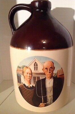 """Vintage American Gothic by Grant Wood Decorative 12"""" Whiskey Jug"""