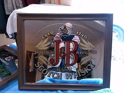 Vintage J&B Scotch Whiskey Mirror Bar Advertising Wall Hanger Nice Condition