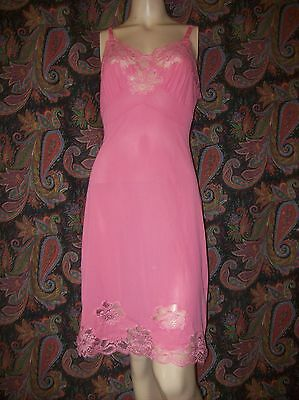 Vintage Lacy Pink Silky Nylon Tricot Slip Nighty Lingerie 34