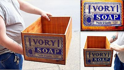 "Antique Vintage Ivory Soap Procter & Gamble Moon Star 20"" X 12.5  Wood Box Crate"
