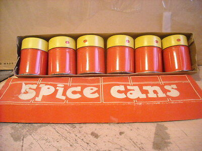 6 Vintage Plain Red/Yellow Spice TINS Cans in Original Box