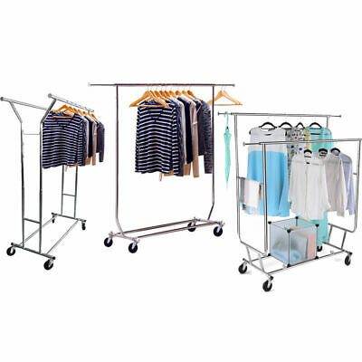 Single/Double 250LB Rail Portable Clothes Hanger Rolling Garment Rack Heavy Duty