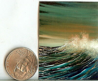PRINT 2x1.5 Inch GLOSSY Evening Seascape Waves Surf Spray Art 1:12 Scale HYMES