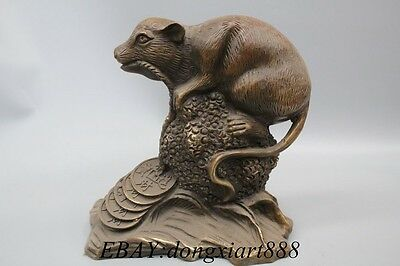 Chinese Feng Shui Brass Bronze Money Wealth Animal Zodiac Year Mouse Statue