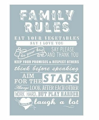 Tea Towel - FAMILY RULES - 100% Cotton Novelty Design Kitchen Dish Drying Cloth