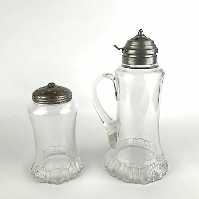 Antique Matching Breakfast Set Glass Muffineer Sugar Shaker and Syrup Pitcher