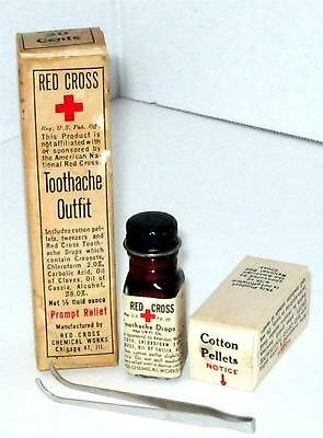 Vintage RARE RED CROSS Toothache Kit Complete
