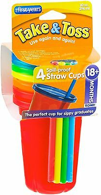The First Years Take - Toss 10 oz Spill-Proof Cups, Assorted Colors 4 ea