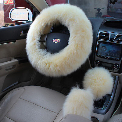 UK 3Pcs Long Plush Fuzzy Steering Wheel Cover Beige Wool Handbrake Car Accessory