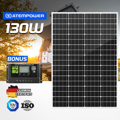 130W Solar Panel Kit Mono Generator Caravan Camping Power Battery Charging 12V