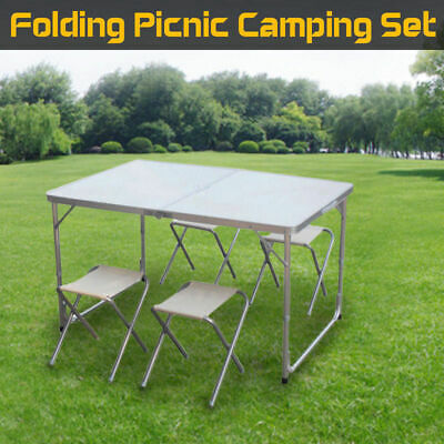 Portable Folding Picnic Outdoor Camping Party BBQ Set Aluminium Table 4 Chairs