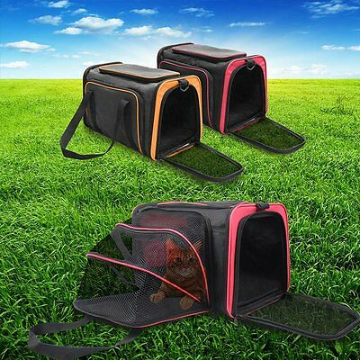 One Side Expandable Pet Carrier Cat Dog Puppy Travel Zip Skylight Door Bag Cage