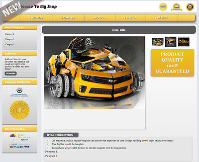eBay Listing Template Mobile Responsive Layout Change No Active Content - MR2D