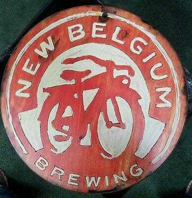 New Belgium Brewing Beer Ale Wood Sign barrel top style Hand Painted Rare