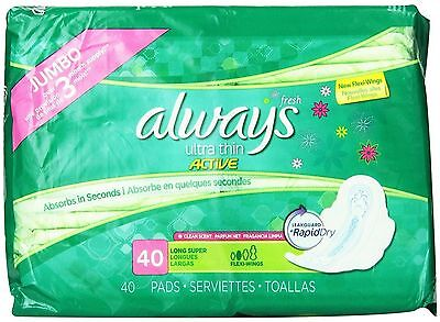 Always Ultra Thin Pads with Flexi Wings Long Super, Fresh Scent 40 Each 5pk