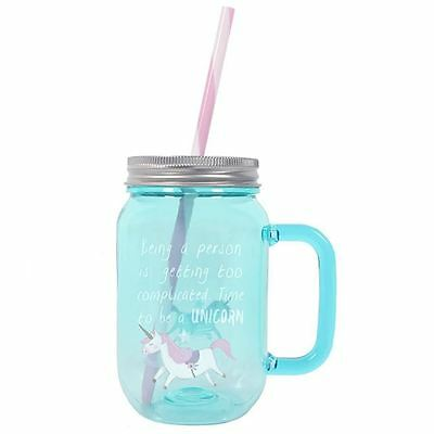 Unicorn Blue Pink Jar Mug Cup Ethically Sourced Gift Boxed Plastic Straw