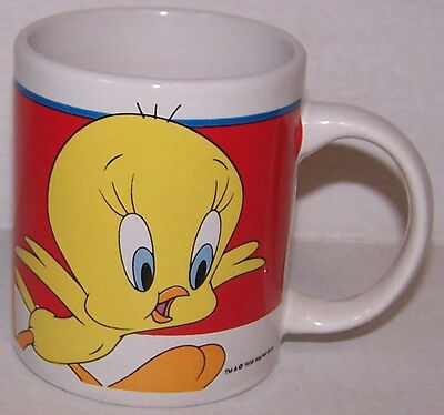 Vintage 1998 Looney Tunes TWEETY BIRD Mug Coffee Cup Gibson Warner Bros Bright
